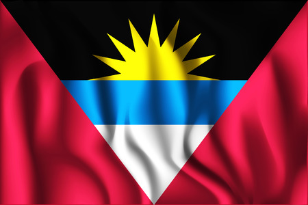 Flag of Antigua and Barbuda. Rectangular Shape Icon with Wavy Effect