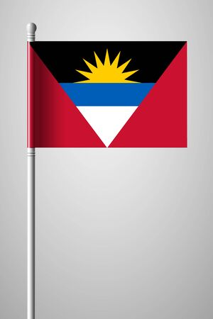 antigua: Flag of Antigua and Barbuda. National Flag on Flagpole. Isolated Illustration on Gray Background
