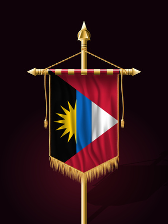 tassel: Flag of Antigua and Barbuda. Festive Banner Vertical Flag with Flagpole. Wall Hangings with Gold Tassel Fringing Illustration