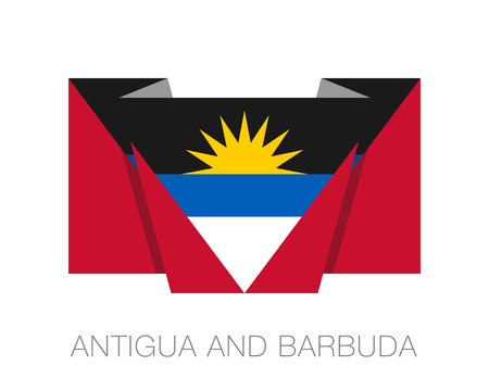 wavering: Flag of Antigua and Barbuda. Flat Icon Wavering Flag with Country Name on a White Background