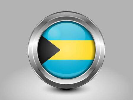 bahamian: Flag of Bahamas. Metal and Glass Round Icon. This is File from the Collection North America Flags
