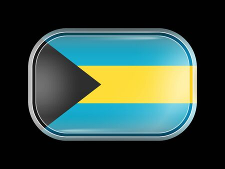 Flag of Bahamas. Rectangular Shape with Rounded Corners. This Flag is One of a Series of Glass Flaf Icons