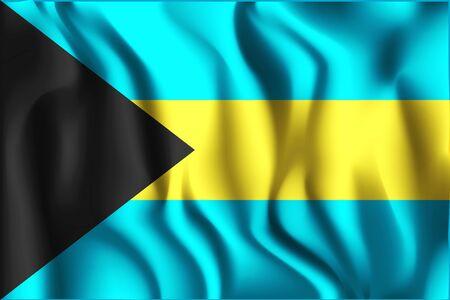Flag of Bahamas. Rectangular Shape Icon with Wavy Effect