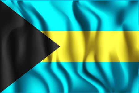Flag of Bahamas. Rectangular Shape Icon with Wavy Effect