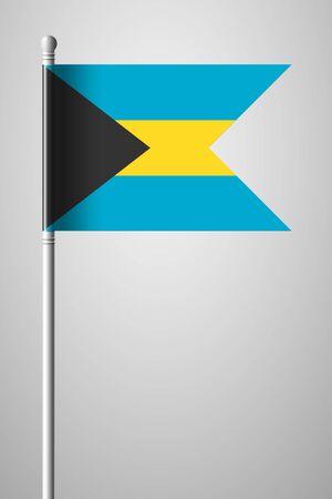 bahamian: Flag of Bahamas. National Flag on Flagpole. Isolated Illustration on Gray Background