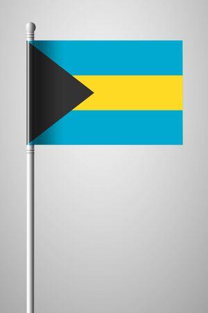 bahama: Flag of Bahamas. National Flag on Flagpole. Isolated Illustration on Gray Background