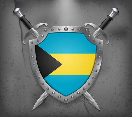 bahama: Flag of Bahamas. The Shield Has Flag Illustration. Two Crossed Swords that are Behind the Shield. Vector Medieval Background