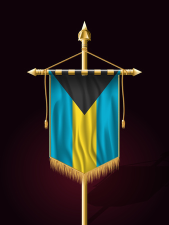 bahama: Flag of Bahamas. Festive Banner Vertical Flag with Flagpole. Wall Hangings with Gold Tassel Fringing