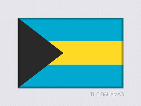 bahamian: Flag of Bahamas. Rectangular Official Flag with Proportion 2:3. Under Gray Cardboard with Inner Shadow