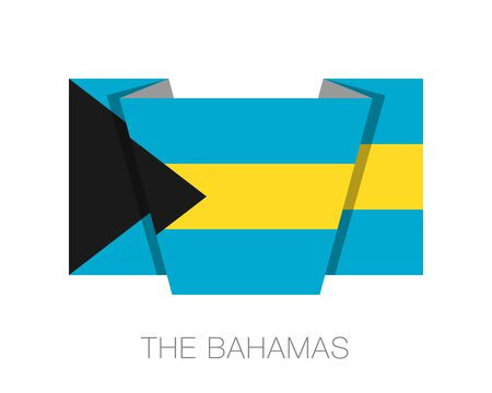 wavering: Flag of Bahamas. Flat Icon Wavering Flag with Country Name on a White Background