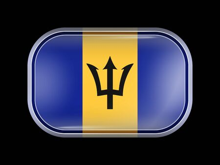 Flag of Barbados. Rectangular Shape with Rounded Corners. This Flag is One of a Series of Glass Flaf Icons