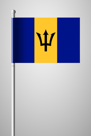 creole: Flag of Barbados. National Flag on Flagpole. Isolated Illustration on Gray Background Illustration