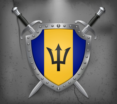 creole: Flag of Barbados. The Shield Has Flag Illustration. Two Crossed Swords that are Behind the Shield. Vector Medieval Background