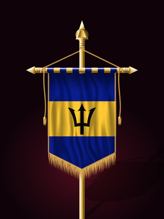 creole: Flag of Barbados. Festive Banner Vertical Flag with Flagpole. Wall Hangings with Gold Tassel Fringing