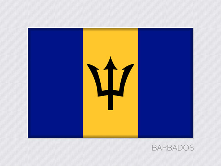 creole: Flag of Barbados. Rectangular Official Flag with Proportion 2:3. Under Gray Cardboard with Inner Shadow