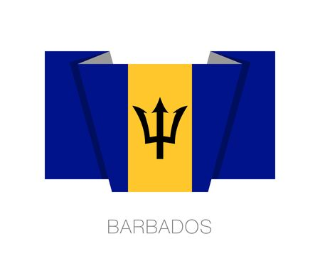 creole: Flag of Barbados. Flat Icon Wavering Flag with Country Name on a White Background