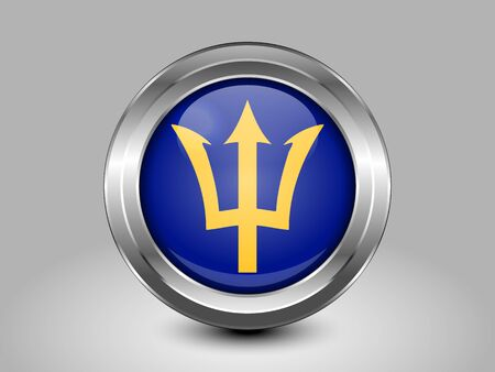 Barbados. Metal and Glass Round Icon. This is File from the Collection North America Flags