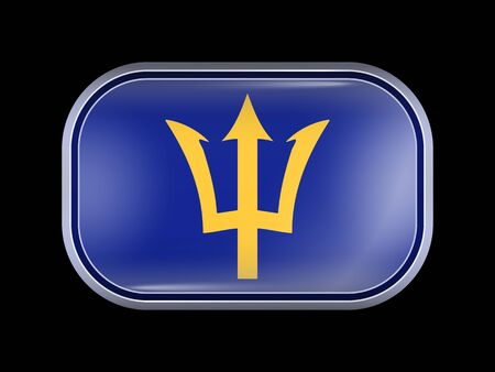 Barbados. Rectangular Shape with Rounded Corners. This Flag is One of a Series of Glass Flaf Icons