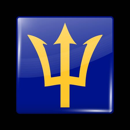 Barbados. Glossy Icon Square Shape. This is File from the Collection Flags of North America