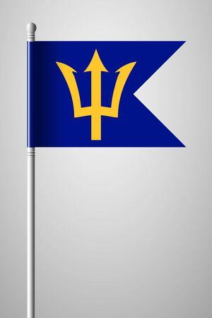 Barbados. National Flag on Flagpole. Isolated Illustration on Gray Background Illustration