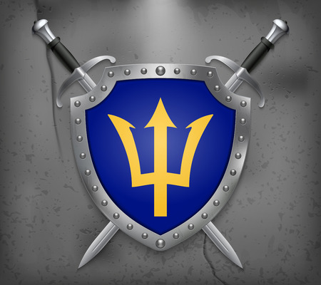 Barbados. The Shield Has Flag Illustration. Two Crossed Swords that are Behind the Shield. Vector Medieval Background