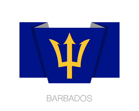 Barbados. Flat Icon Wavering Flag with Country Name on a White Background Illustration