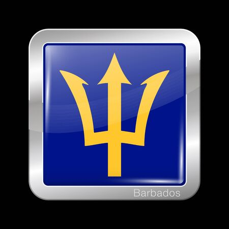Barbados. Metal Icon Square Shape. This is File from the Collection Flags of North America Illustration