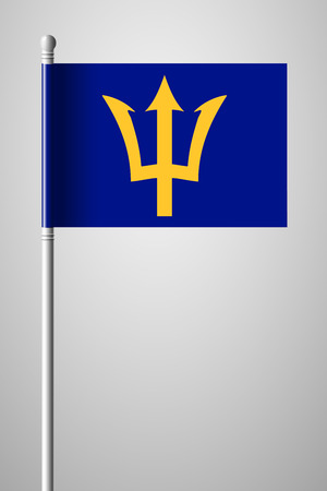 creole: Barbados. National Flag on Flagpole. Isolated Illustration on Gray Background Illustration