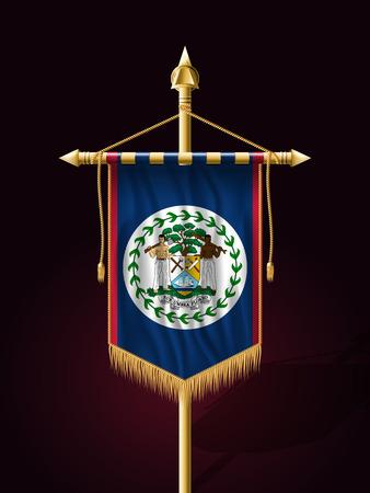 belize: Flag of Belize. Festive Banner Vertical Flag with Flagpole. Wall Hangings with Gold Tassel Fringing Illustration