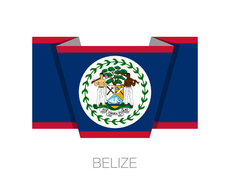 Flag of Belize. Flat Icon Wavering Flag with Country Name on a White Background