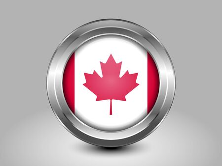 metal button: Flag of Canada. Metal and Glass Round Icon. This is File from the Collection North America Flags