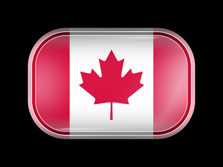 rounded edges: Flag of Canada. Rectangular Shape with Rounded Corners. This Flag is One of a Series of Glass Flaf Icons Illustration