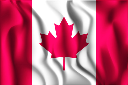 Flag of Canada. Rectangular Shape Icon with Wavy Effect