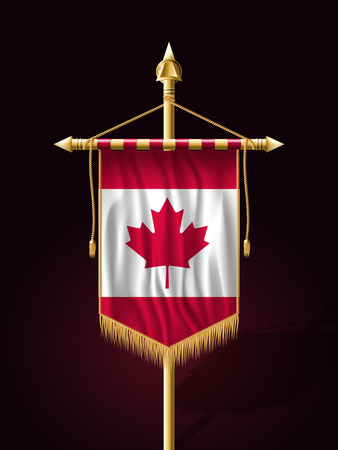tassel: Flag of Canada. Festive Banner Vertical Flag with Flagpole. Wall Hangings with Gold Tassel Fringing
