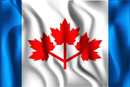 The Canadian Pearson Pennant. Rectangular Shape Icon with Wavy Effect Illustration