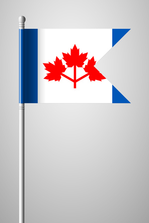 The Canadian Pearson Pennant. National Flag on Flagpole. Isolated Illustration on Gray Background
