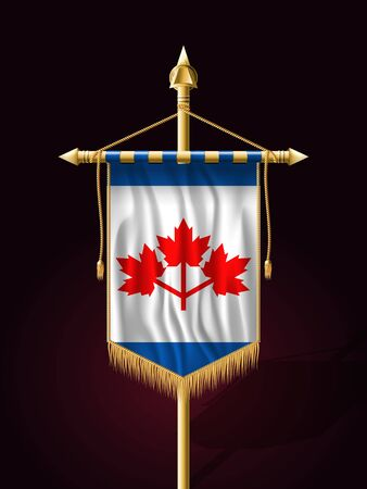 tassel: The Canadian Pearson Pennant. Festive Banner Vertical Flag with Flagpole. Wall Hangings with Gold Tassel Fringing Illustration