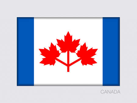 The Canadian Pearson Pennant. Rectangular Official Flag with Proportion 2:3. Under Gray Cardboard with Inner Shadow
