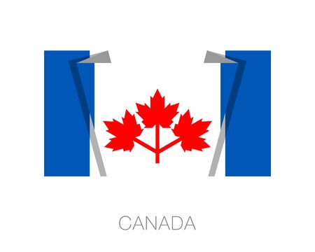 wavering: The Canadian Pearson Pennant. Flat Icon Wavering Flag with Country Name on a White Background