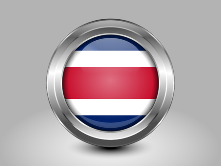 Flag of Costa Rica. Metal and Glass Round Icon. This is File from the Collection North America Flags Ilustração