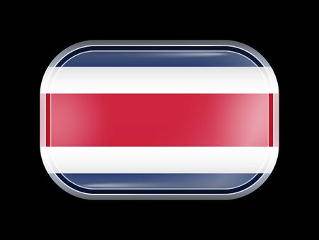 Flag of Costa Rica. Rectangular Shape with Rounded Corners. This Flag is One of a Series of Glass Flaf Icons