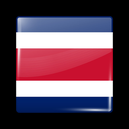 Flag of Costa Rica. Glossy Icon Square Shape. This is File from the Collection Flags of North America