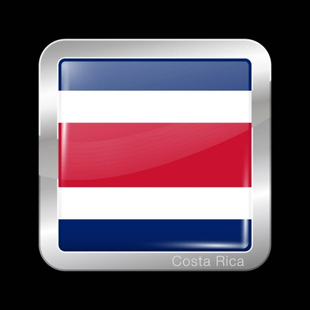 north america: Flag of Costa Rica. Metal Icon Square Shape. This is File from the Collection Flags of North America Illustration
