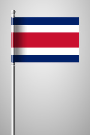 Flag of Costa Rica. National Flag on Flagpole. Isolated Illustration on Gray Background