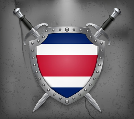 Flag of Costa Rica. The Shield Has Flag Illustration. Two Crossed Swords that are Behind the Shield. Vector Medieval Background