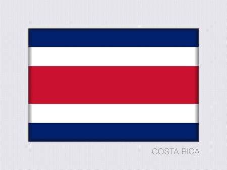 Flag of Costa Rica. Rectangular Official Flag with Proportion 2:3. Under Gray Cardboard with Inner Shadow