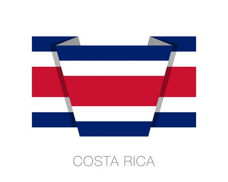 Flag of Costa Rica. Flat Icon Wavering Flag with Country Name on a White Background