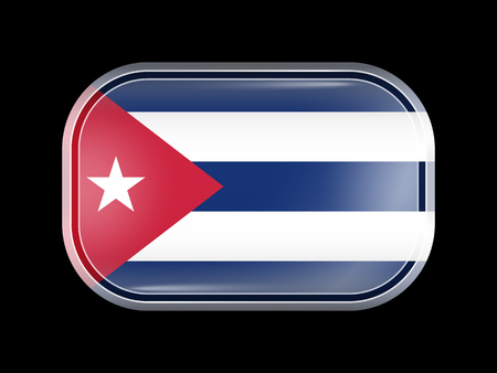 rounded edges: Flag of Cuba. Rectangular Shape with Rounded Corners. This Flag is One of a Series of Glass Flag Icons Illustration