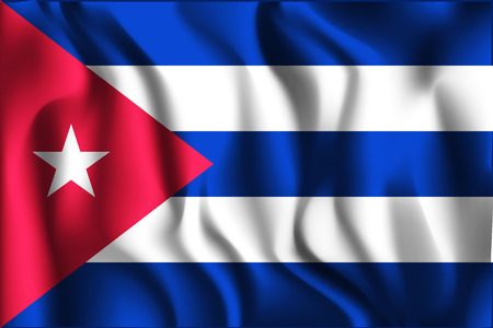 cigar shape: Flag of Cuba. Rectangular Shape Icon with Wavy Effect