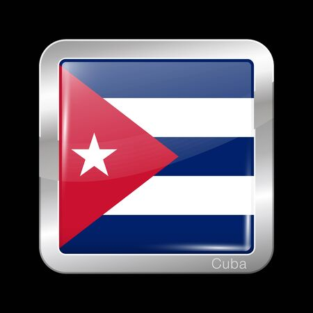north america: Flag of Cuba. Metal Icon Square Shape. This is File from the Collection Flags of North America